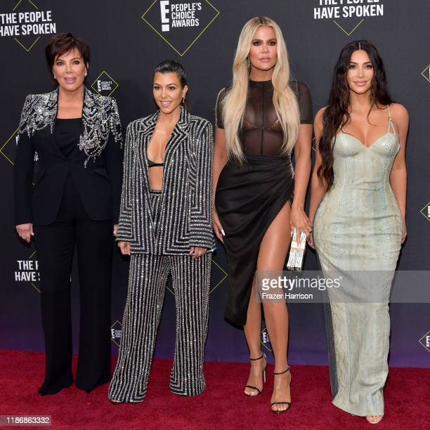 Kris Jenner Kourtney Kardashian Khloé Kardashian and Kim Kardashian attend`Kim Kardashian the 2019 E People's Choice Awards at Barker Hangar on...