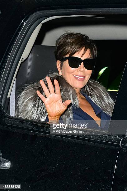Kris Jenner leaving the Kanye West x Adidas Launch Party celebrating the Adidas Yeezy 750 Boost Sneakers on February 12 2015 in New York City