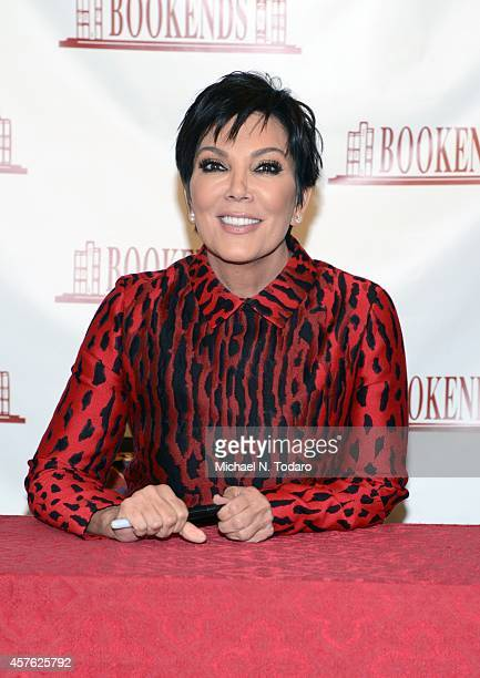 """Kris Jenner signs copies of her cookbook """"In the Kitchen with Kris"""" at Bookends Bookstore on October 21, 2014 in Ridgewood, New Jersey."""