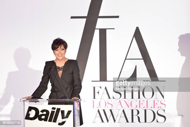 Kris Jenner speaks onstage during The Daily Front Row's 4th Annual Fashion Los Angeles Awards at Beverly Hills Hotel on April 8 2018 in Beverly Hills...