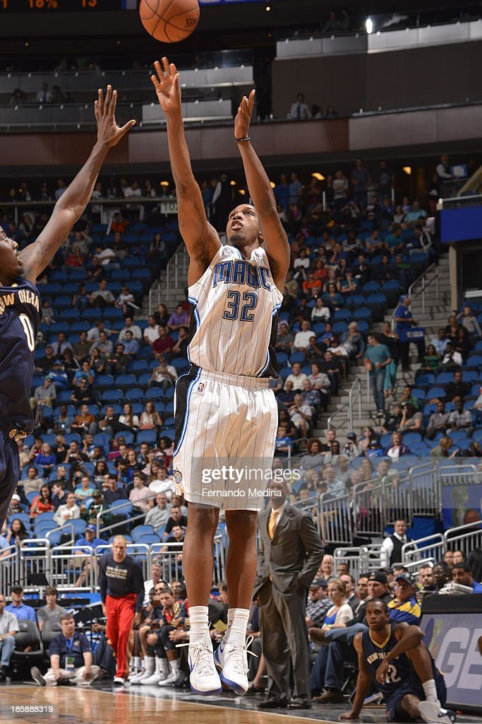 Kris Joseph #32 of the Orlando Magic shoots the ball against the New Orleans Pelicans the game on October 25, 2013 at Amway Center in Orlando, Florida.