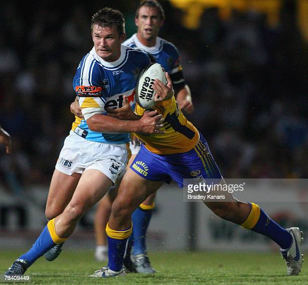 Kris Kahler of the Titans in action during the NRL trial match between the Parramatta Eels and the Gold Coast Titans at Oakes Oval on February 24...
