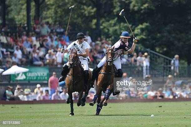 Kris Kampsen KIG moves in to score while challenged by Hilario Ulloa White Birch during the White Birch Vs KIG Polo match in the Butler Handicap...