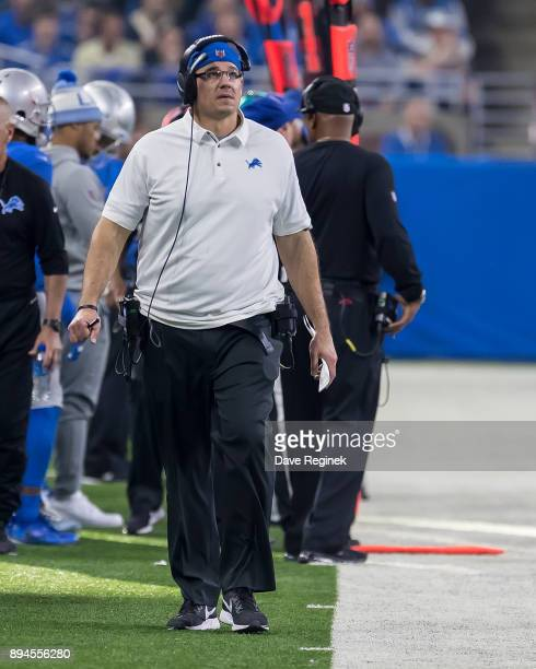 Kris Kocurek defensive line coach of the Detroit Lions walks the sidelines during an NFL game against the Minnesota Vikings at Ford Field on November...