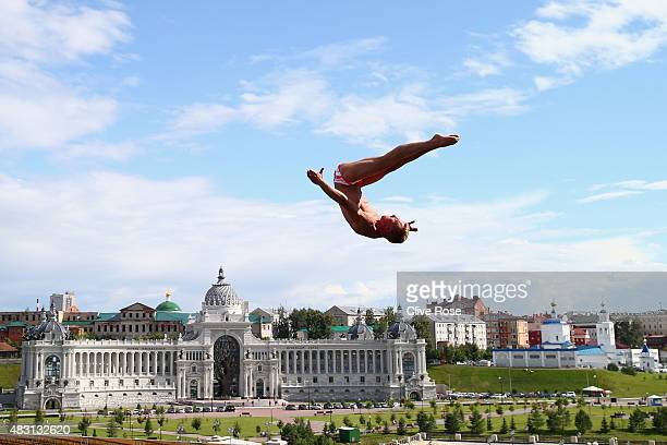 Kris Kolanus of Poland competes in the Men's 27m High Diving Final on day twelve of the 16th FINA World Championships at the Kanzanka River on August...