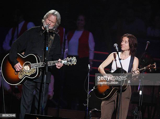 Kris Kristoferson and Ani Di Franco perform at The Clearwater Benefit Concert celebrating Pete Seeger's 90th birthday at Madison Square Garden on May...