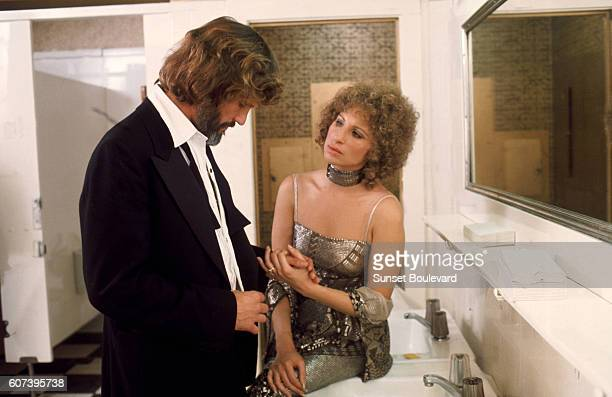 Kris Kristofferson and Barbra Streisand on the set of A Star is Born