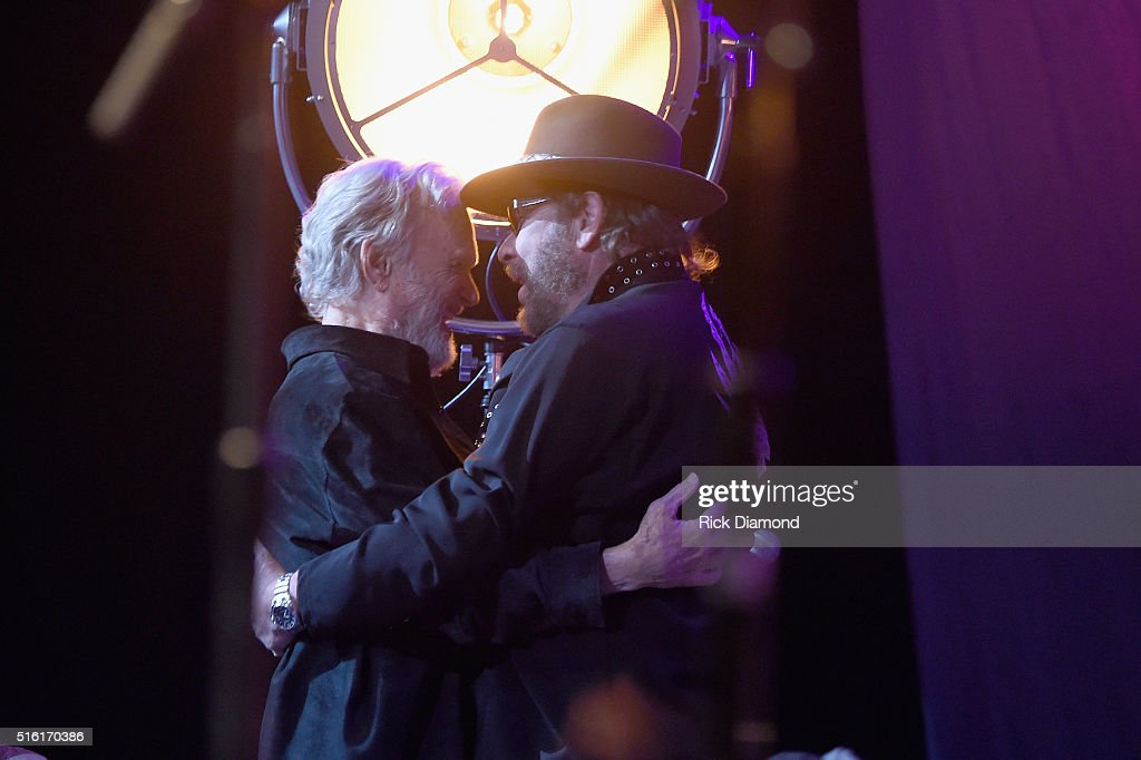 Kris Kristofferson and Hank Williams, Jr. at The Life & Songs of Kris Kristofferson produced by Blackbird Presents at Bridgestone Arena on March 16, 2016 in Nashville, Tennessee.