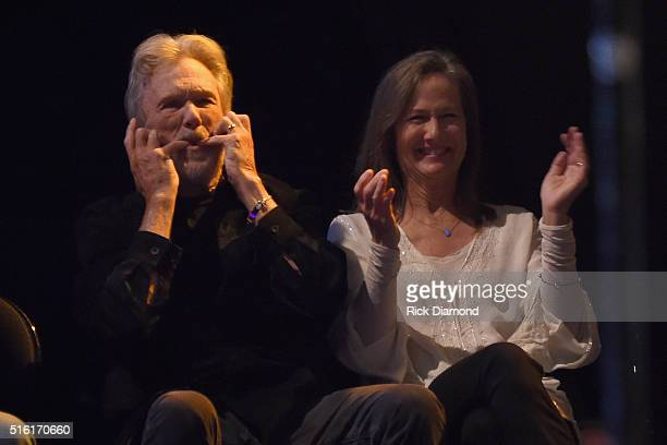 Kris Kristofferson and Lisa Meyers attend The Life Songs of Kris Kristofferson produced by Blackbird Presents at Bridgestone Arena on March 16 2016...