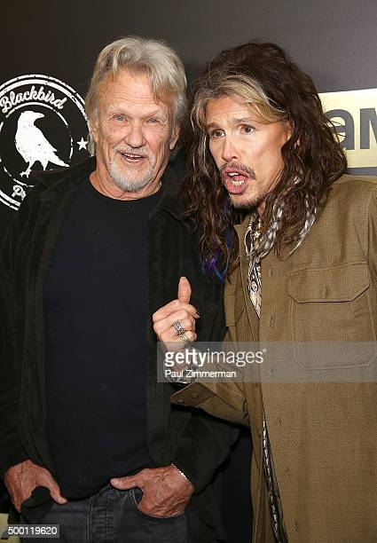 Kris Kristofferson and Steven Tyler and Mia Tyler attend Imagine John Lennon 75th birthday concert at Madison Square Garden on December 5 2015 in New...