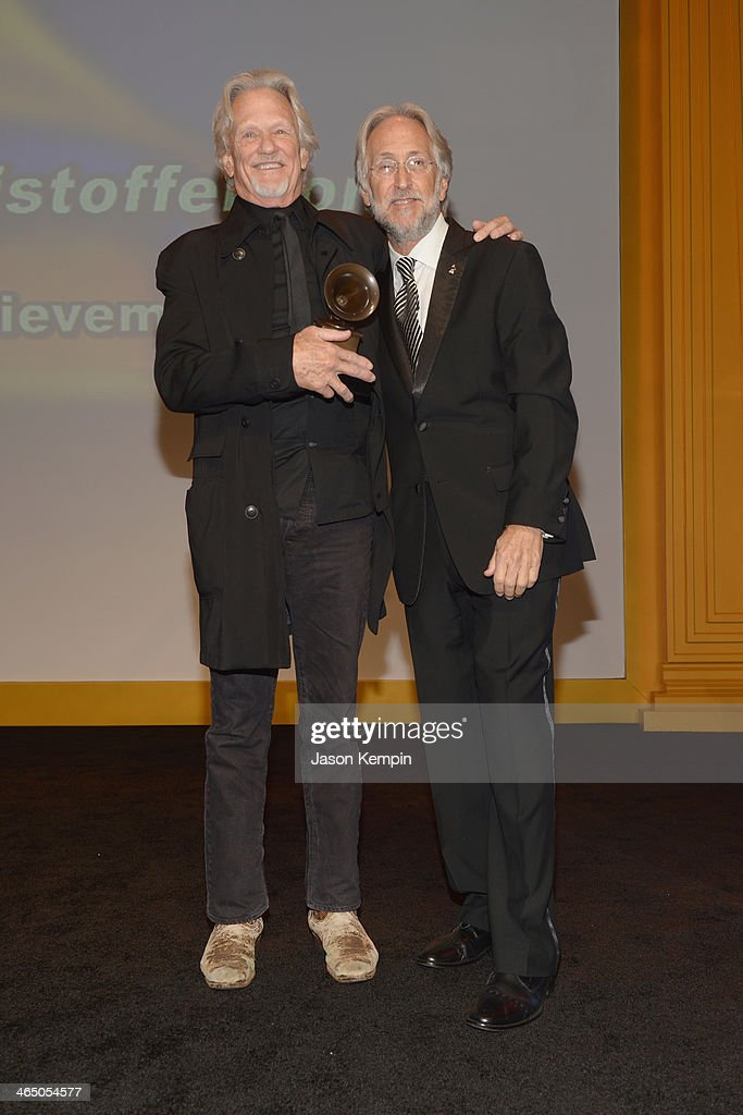 Kris Kristofferson and The Recording Academy president/CEO Neil Portnow attend the Special Merit Awards Ceremony as part of the 56th GRAMMY Awards on January 25, 2014 in Los Angeles, California.
