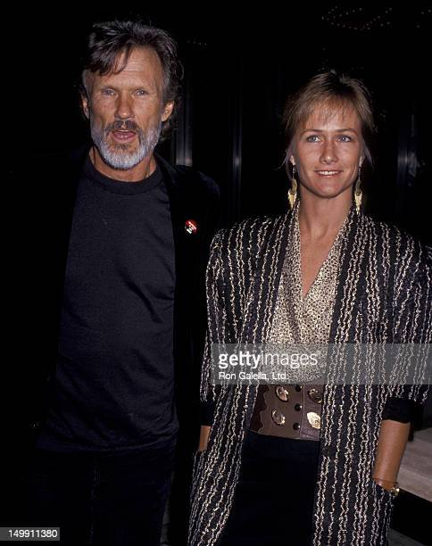 Kris Kristofferson and wife Lisa Meyers attend ACLU Benefit Dinner on April 14 1989 at the Century Plaza Hotel in Century City California
