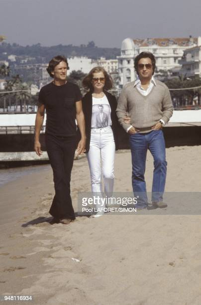 Kris Kristofferson Isabelle Huppert and Michael Cimino in Cannes to present the movie Heaven's gate