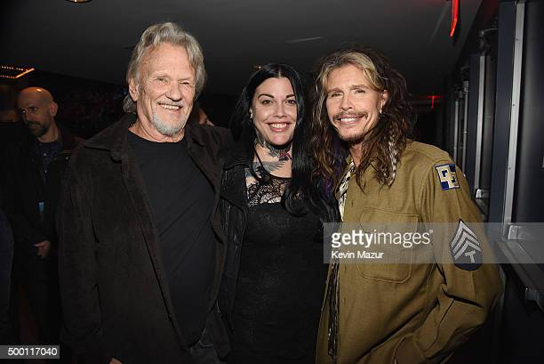 Kris Kristofferson Mia Tyler and Steven Tyler attend the Imagine John Lennon 75th Birthday Concert at The Theater at Madison Square Garden on...