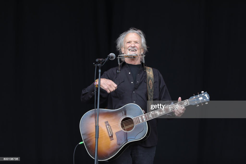 Kris Kristofferson performs on the Pyramid stage on day 2 of the Glastonbury Festival 2017 at Worthy Farm, Pilton on June 23, 2017 in Glastonbury, England.