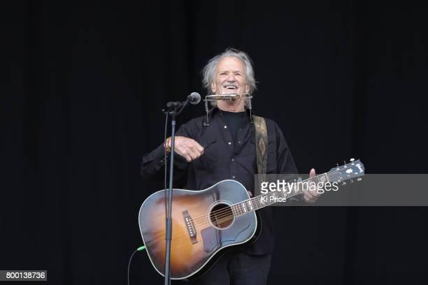 Kris Kristofferson performs on the Pyramid stage on day 2 of the Glastonbury Festival 2017 at Worthy Farm Pilton on June 23 2017 in Glastonbury...