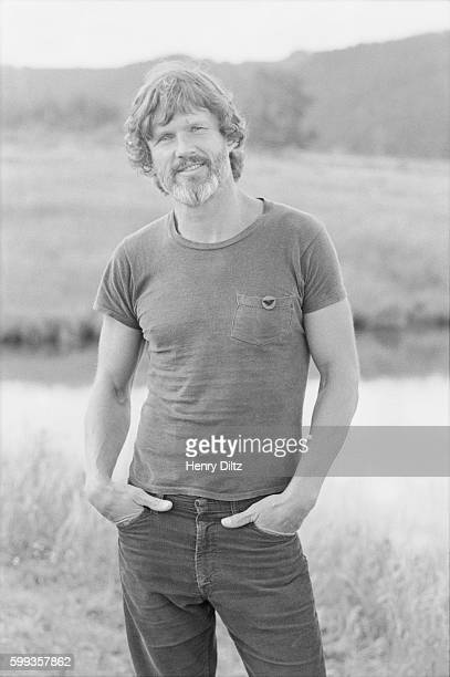 Kris Kristofferson stands alongside a pond at Caribou Ranch a farm near Boulder Colorado The country musician is at the ranch as part of a photo...