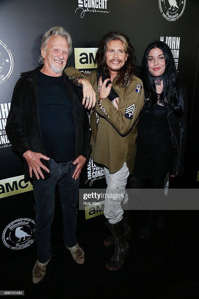 Kris Kristofferson, Steven Tyler and Mia Tyler attend the Imagine: John Lennon 75th Birthday Concert at Madison Square Garden on December 5, 2015 in New York City.