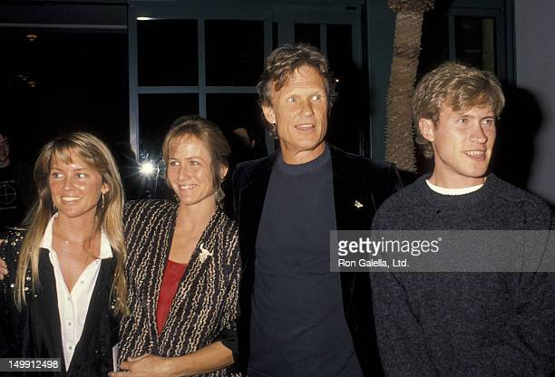 Kris Kristofferson wife Lisa Meyers and family attend Crosby Stills Nash and Young Concert Party on March 31 1990 at the Santa Monica Beach Hotel in...