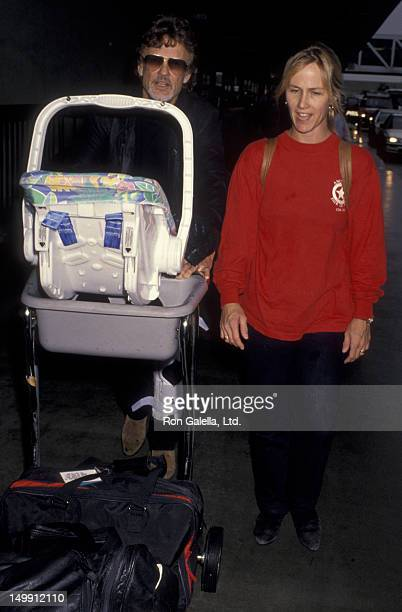 Kris Kristofferson wife Lisa Meyers and son Blake Kristofferson sighted on January 8 1995 at the Los Angeles International Airport in Los Angeles...