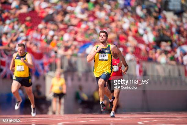 Kris Lane of the Australia competes in the men's IT7 100 meters at the athletics competition at the Invictus Games in Toronto Ontario September 24...