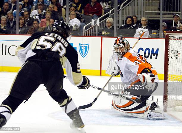 Kris Letang of the Pittsburgh Penguins scores past Sergei Bobrovsky of the Philadelphia Flyers at Consol Energy Center on October 29, 2010 in...