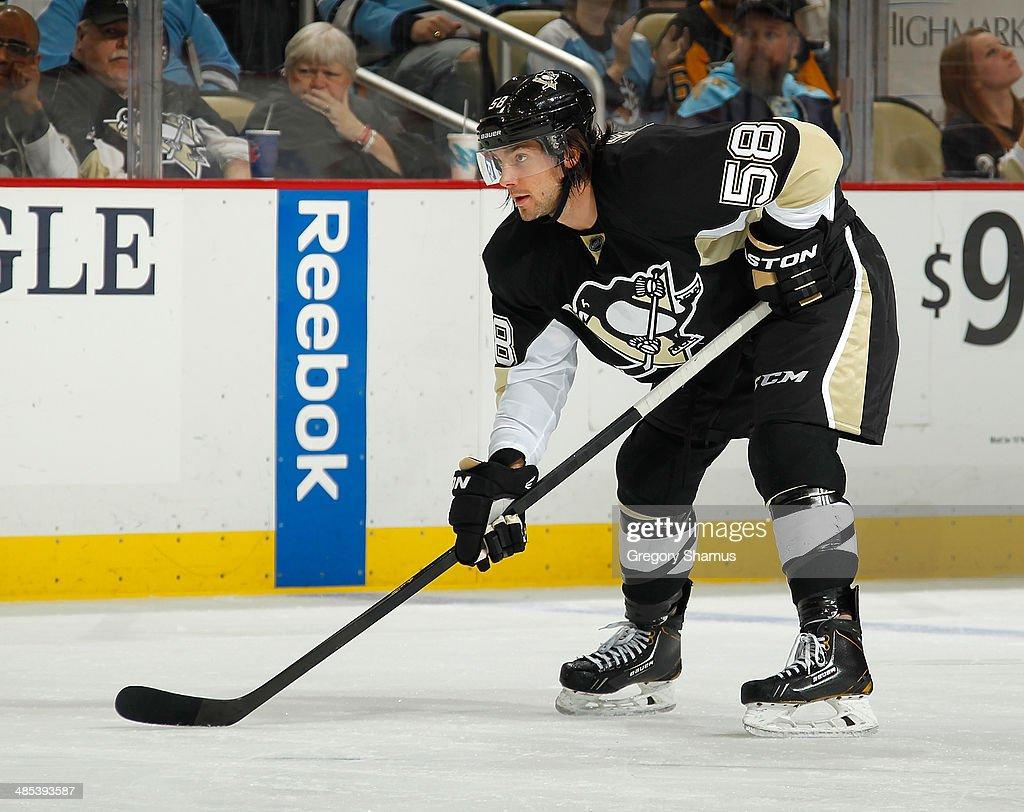 Kris Letang #58 of the Pittsburgh Penguins skates against the Philadelphia Flyers on April 12, 2014 at Consol Energy Center in Pittsburgh, Pennsylvania.