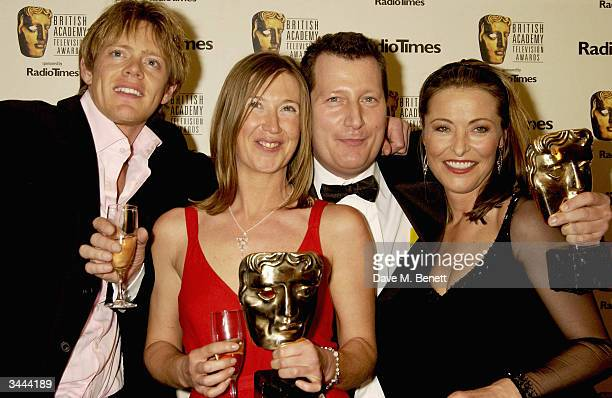"""Kris Marshall and Amanda Donohoe with Bafta Winners for The Flaherty Documentry Award """"Lager, Mum and Me """" Min Clough and Todd Austin pose in the..."""