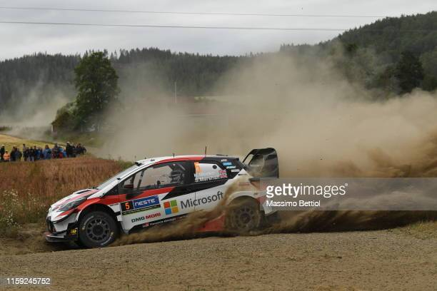 Kris Meek of Great Britain and Sebastian Marshall of Great Britain compete in their Toyota Gazoo Racing WRT Toyota Yaris WRC during Day One of the...