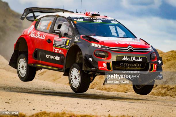 Kris Meeke and codriver Paul Nagle of Citroën World Rally Team gets some air on a jump during Super Special Stage the Rally Australia round of the...