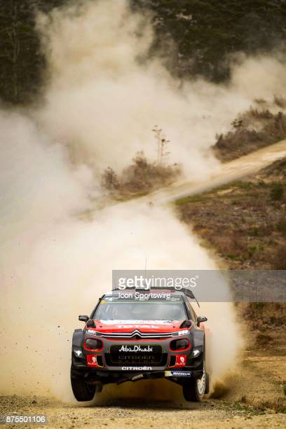 Kris Meeke and codriver Paul Nagle of Citroën World Rally Team on a jump during Day One of the Rally Australia round of the 2017 FIA World...
