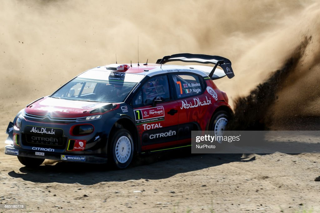 Kris Meeke and Paul Nagle in Citroen C3 WRC of Citroen Total Aby Dhabi WRT in action during the shakedown of WRC Vodafone Rally de Portugal 2017, at Matosinhos in Portugal on May 18, 2017.