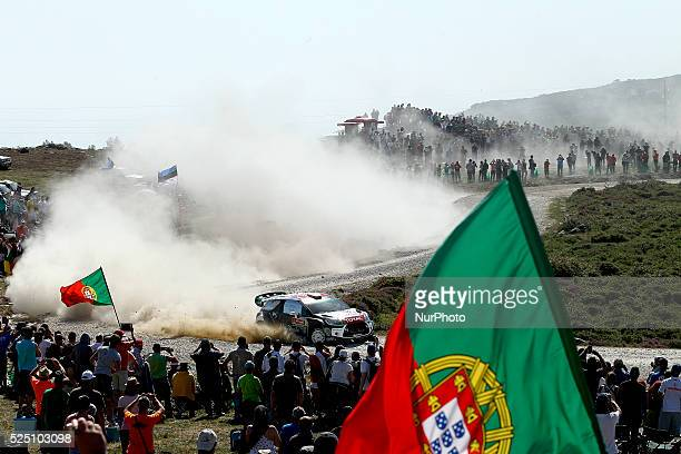 Kris Meeke and Paul Nagle in Citroen DS3 WRC of team Citroen Total Abu Dhabi WRT in action during the SS7 Viana do Castelo of WRC Vodafone Rally...