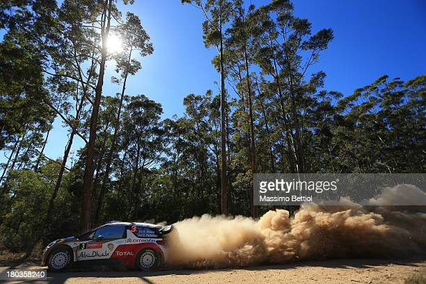 Kris Meeke of Great Britain and Chris Patterson of Ireland compete in their Citroen Total Abu Dhabi WRT Citroen DS3 WRC during the Shakedown of the...
