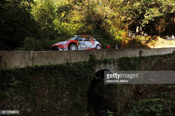 Kris Meeke of Great Britain and Paul Nagle of Ireland compete in their Abu Dhabi Total WRT Citroen DS3 WRC during the Shakedown of the WRC France on...