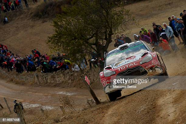 Kris Meeke of Great Britain and Paul Nagle of Ireland compete in their Abu Dhabi Total WRT Citroen DS3 WRC during Day One of the WRC Spain on October...
