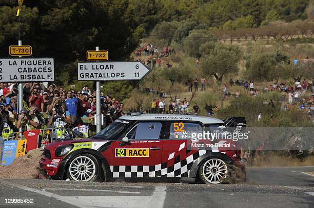 Kris Meeke of Great Britain and Paul Nagle of Ireland compete in their Mini WRC Team Mini John Cooper Works wrc during Day2 of the WRC Rally of Spain...