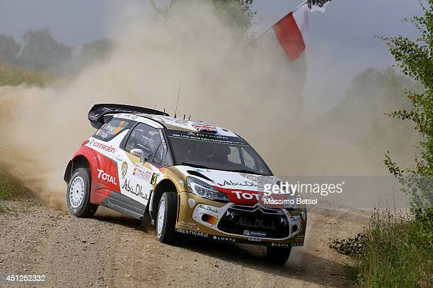 Kris Meeke of Great Britain and Paul Nagle of Ireland compete in their Citroen Total Abu Dhabi WRT Citroen DS3 WRC during the Shakedown of the WRC...