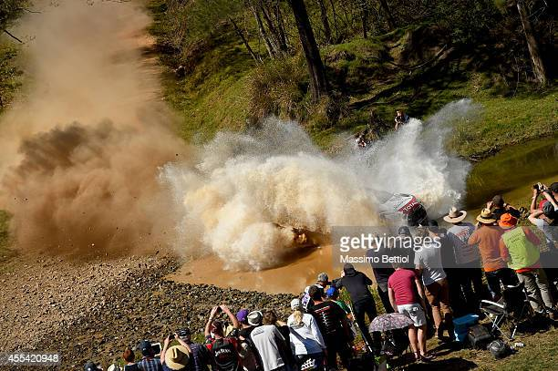 Kris Meeke of Great Britain and Paul Nagle of Ireland compete in their Citroen Total Abu Dhabi WRT Citroen DS3 WRC during Day Three of the WRC...