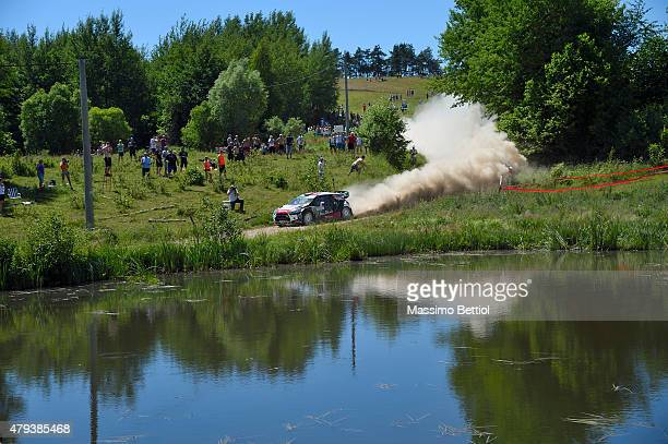 Kris Meeke of Great Britain and Paul Nagle of Ireland compete in their Citroen Total Abu Dhabi WRT Citroen DS3 WRC during Day One of the WRC Poland...