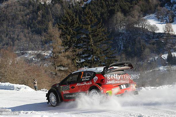 Kris Meeke of Great Britain and Paul Nagle of Ireland compete in their Citroen Total Abu Dhabi WRT Citroen C3 WRC during Day Two of the WRC...