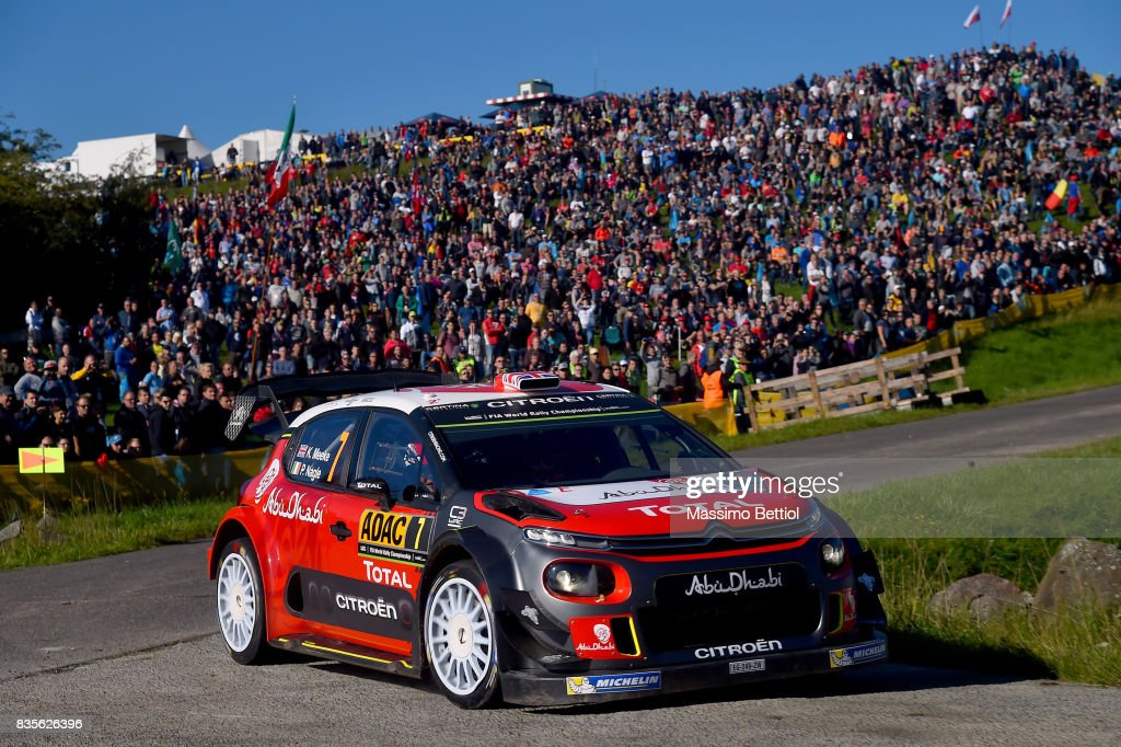 Kris Meeke of Great Britain and Paul Nagle of Ireland compete in their Citroen Total Abu Dhabi WRT Citroen C3 WRC during Day Two of the WRC Germany on August 19, 2017 in Trier, Germany.