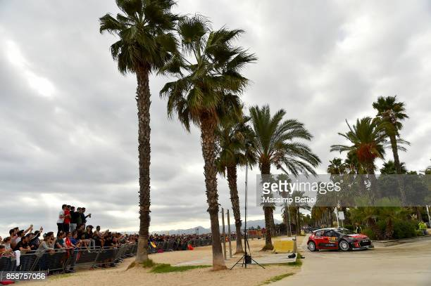 Kris Meeke of Great Britain and Paul Nagle of Ireland compete in their Citroen Total Abu Dhabi WRT Citroen C3 WRC during Day Two of the WRC Spain on...