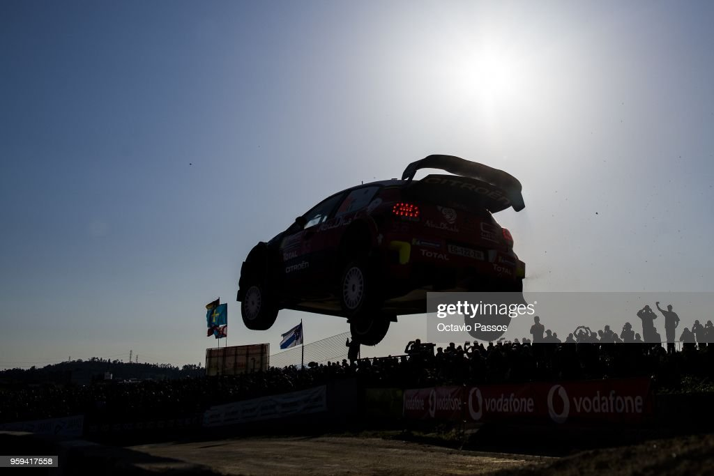 Kris Meeke of Great Britain and Paul Nagle of Ireland compete in their Citroen Total Abu Dhabi WRT Citroen C3 WRC during the shakedown of the WRC Portugal on May 17, 2018 in Porto, Portugal.