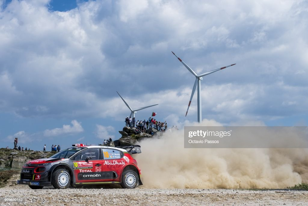 Kris Meeke of Great Britain and Paul Nagle of Ireland compete in their Citroen Total Abu Dhabi WRT Citroen C3 WRC during the SS5 Viana do Castelo of the WRC Portugal on May 18, 2018 in Viana do Castelo, Portugal.