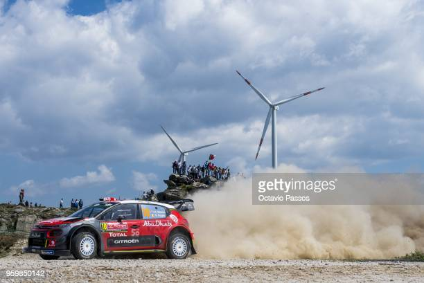 Kris Meeke of Great Britain and Paul Nagle of Ireland compete in their Citroen Total Abu Dhabi WRT Citroen C3 WRC during the SS5 Viana do Castelo of...