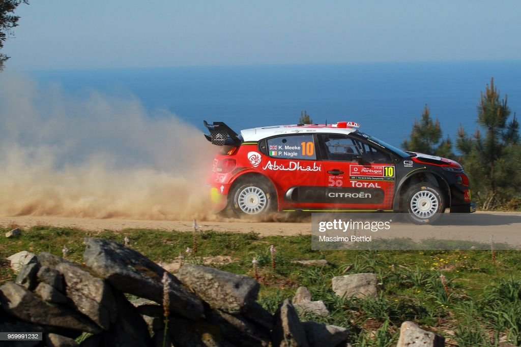 Kris Meeke of Great Britain and Paul Nagle of Ireland compete in their Citroen Total Abu Dhabi WRT Citroen C3 WRC during Day Two of the WRC Portugal on May 18, 2018 in Faro, Portugal.