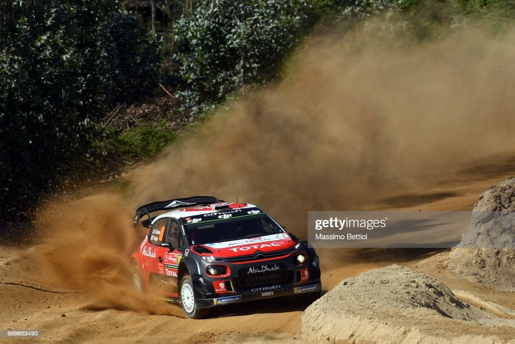 Kris Meeke of Great Britain and Paul Nagle of Ireland compete with their Citroen Total Abu Dhabi WRT Citroen C3 WRC during Day One of the WRC Portugal on May 17, 2018 in Faro, Portugal.