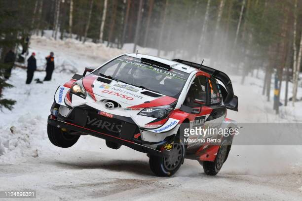 Kris Meeke of Great Britain and Sebastien Marshall of Great Britain compete in their Toyota Gazoo WRT Toyota Yaris WRC during the Shakedown of the...