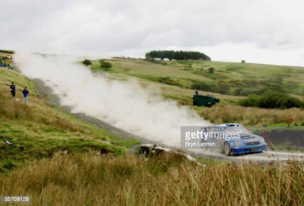 Kris Meeke of Great Britain and Subaru in action during the second day of the Wales Rally GB in Llandovery on September 17 2005 near Swansea Wales
